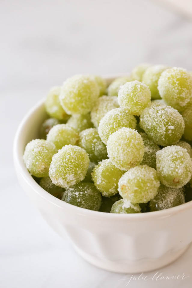 Sugared Champagne Grapes, 101 New Years Food Ideas